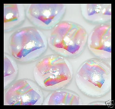 Lot of 12 RIPPLE CLEAR ASSORTMENT Fused Glass DICHROIC Cabochons NO HOLE Beads