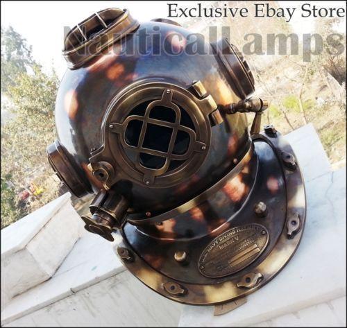 Antique Brass Divers Diving Helmet US Navy Mark V Deep Sea Marine Divers Scuba