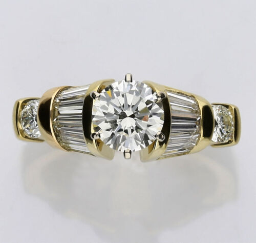 Diamond Engagement Ring 18k Yellow Gold 1.10ct Round Brilliant Baguettes 2.70ctw