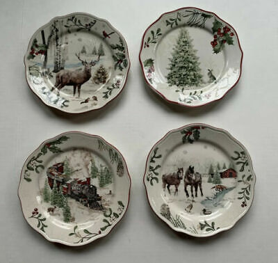 Set of 4 NEW - Better Homes Heritage Salad Plates - Train, Horses, Stag, Tree