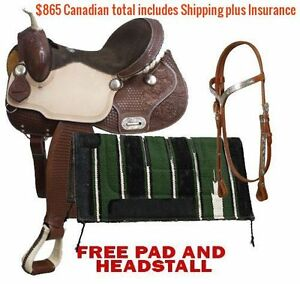 "14"" 15"" 16"" Western Barrel Racing Saddles $747 Leather FULL Bars London Ontario image 6"