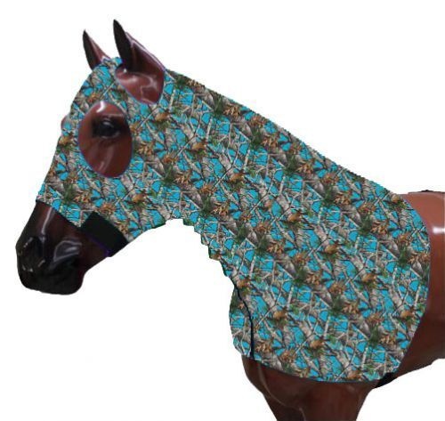 Teal Real Oak Camouflage Print Zippered Horse Sleazy Lycra Hood 900 - 1200 lbs.