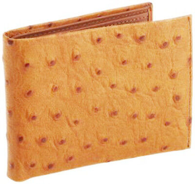 MEN'S TAN GENUINE LEATHER WALLET OSTRICH PRINT BIFOLD FLAP CARD ID CROC