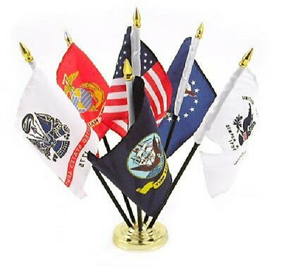 Military Armed Forces 5 Branch Service Miniature Flag Desk Set Table Gold Base