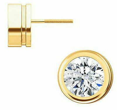 1.50 carat Round Diamond Stud 18k Yellow Gold Earrings D color IF GIA certified 9