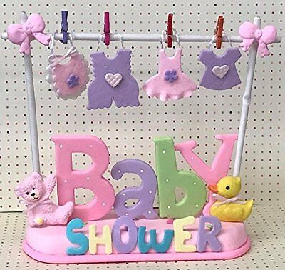 Baby Shower Clothesline Cake Topper Centerpiece for Boy Blue or Girl Pink - Baby Shower Centerpieces For Boy