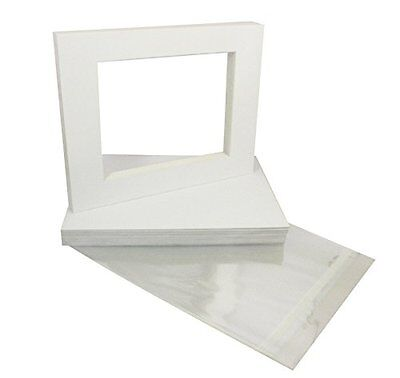 Pack of 10 WHITE 11x14 Picture Mats with White Core for 8x10 Photos + Back + Bag