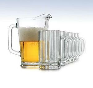 clear glass beer mugs