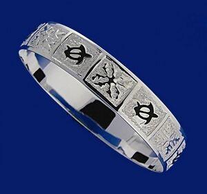 Hawaiian-925-Sterling-Silver-10mm-Honu-Quilt-Bracelet-Bangle-Open-Slip-On-B1006