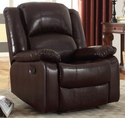 Brown Leather Glider Recliner Arm Chair Armchair Chairs Living Room Furniture (Glider Living Room Recliner)