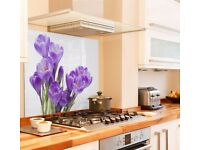 GLASS SPLASH BACK ft PURPLE CROCUS KITCHEN OR BATHROOM - Brand New still in bubble wrap and frame