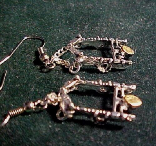 Western Vaquero Sterling silver plated San Joaquin  horse bit dangle earrings