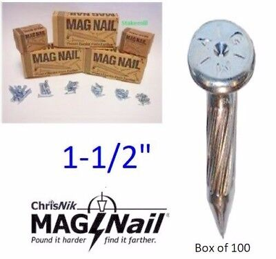 Chrisnik Mag Nail 241500 Magnetic Survey Marker  1 1 2  X 1 4   100 Per Box