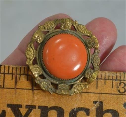 "hat pin Victorian Edwardian coral color brass 1.25"" top large 11"" long original"
