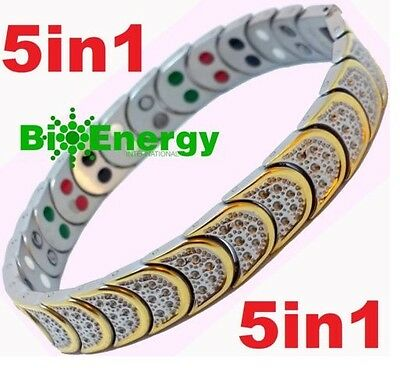 Jade Magnetic Energy Germanium Power Bracelet Health TITANIUM 5 in 1 Armband BIO