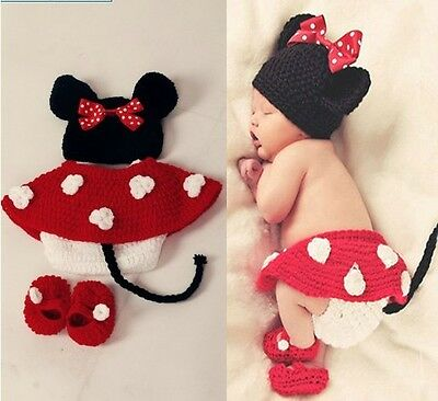 Minni Maus Baby Kinder Mütze Rock Hose Schuhe Strick Kleid Kostüm FotoShooting ()