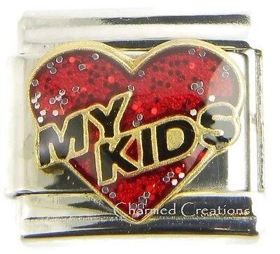 Red Heart I Love My Kids 9mm Italian Charm Link For Bracelet Daughter Son ()