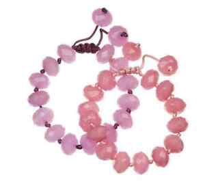 BN LOLA ROSE SET OF 2 FACETED CHINESE KNOT BRACELETS IN HEART EMBROIDERED POUCH