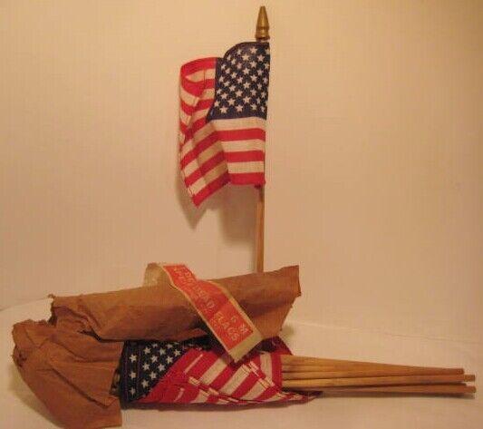 12 Old Miniature 50 Star Linen Flags in PKG w/ Wooden Spear Head - 4th July