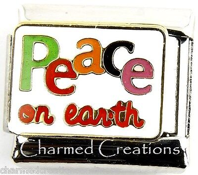 Peace On Earth Colorful Christmas Holiday 9mm Italian Charm Modular Link Earth Italian Charm