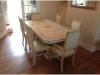 Cream real italian marble gloss dining table with 6 chairs