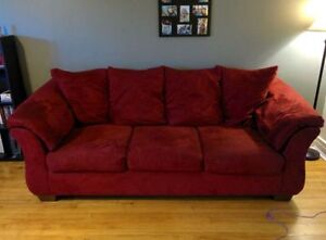 Red Fabric Couch Great Condition