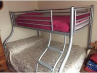 DOUBLE BED BUNKBED SINGLE TOP SILVER IN GOOD CONDITION WITH MATERESS
