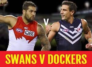 1-8 FREMANTLE DOCKERS V SYDNEY SWANS TICKETS Subiaco Subiaco Area Preview