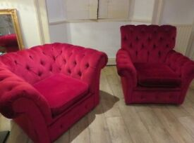 Red Chesterfield 3-1-1