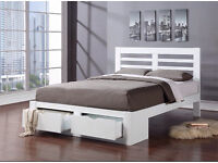 NEW! (Seconds). White Wood Storage Double Bed Frame RRP £400!