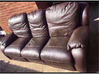 3 seat leather recliner sofa