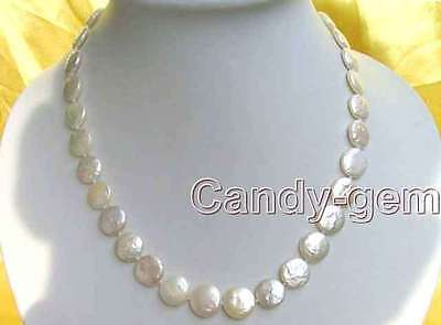 SALE Big 13-14mm COIN Round Natural freshwater WHITE PEARL 17