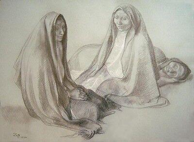 "FRANCISCO ZUNIGA Signed 1976 Original Crayon & Pastel Drawing ""Tres mujeres"""