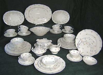 56 pc Set Grandma's Heirloom Porcelain China Tiny Flower Petit Fleur Service/ 8 on Rummage