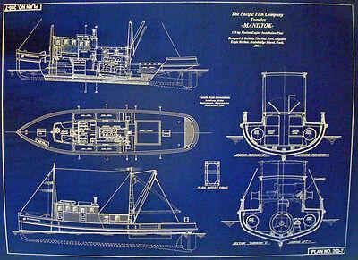 "Vintage Ship Boat Blueprint Oil Burning Farragut Tanker Military 24""x34"" (044)"