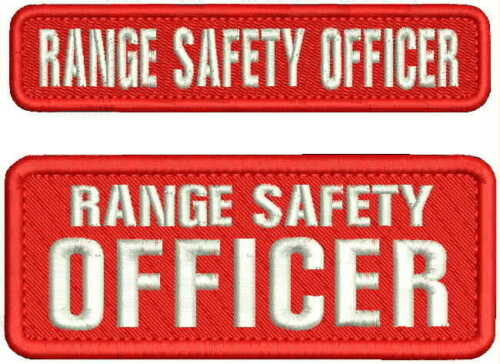 RANGE SAFETY OFFICER  EMB PATCH 2X5 AND 1X5 HOOK ON BACK RED/WHITE