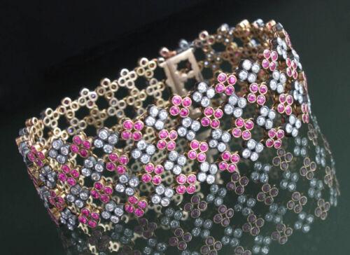 7.45ct Rose Cut Diamond Antique Look 925 Silver Ruby Gemstone Bracelet