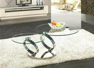 Coffee table in silver with tempered glass : available in golden color (CR2000)