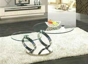 Silver Coffee Table With Tempered Glass- Available in Golden Color (CR1100)