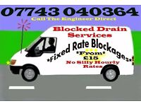 """£15""Blocked Drains & Toilet from""£15""Fixed Prices""24/7"""