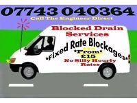 "Blocked Drains & Toilets ""15 Mile Radius"" 1 hour Service 24/7"