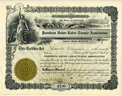 1922 Stock Certificate Pasadena Union Labor Temple Association of California