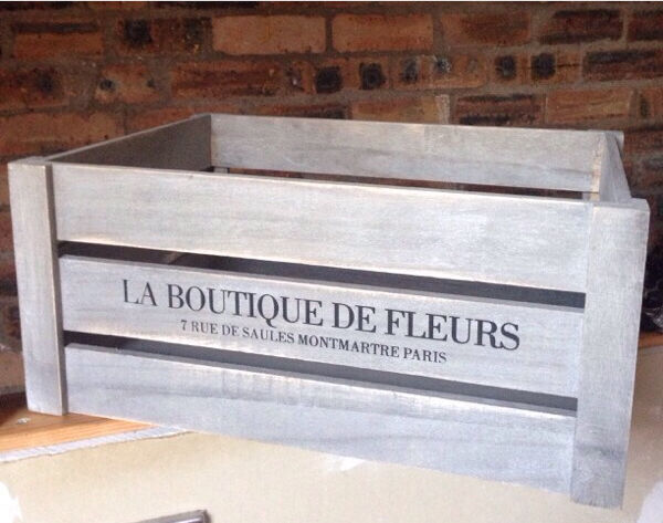 shabby chic gray crate la boutique de fleurs 16 x 12 x 7 | in