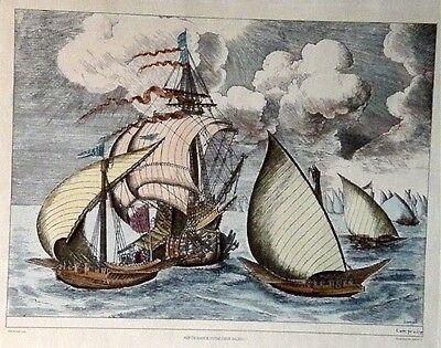 Stich/Litho Nef de Bande entre deux Galeres - koloriert (25051)