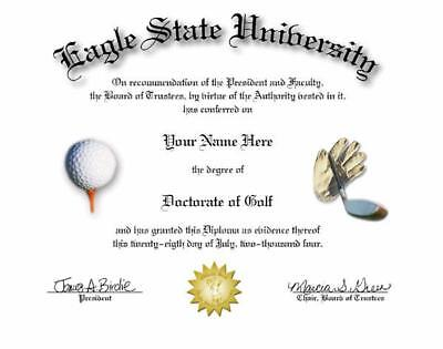 DOCTORATE OF GOLF NOVELTY DIPLOMA! GREAT GIFT!  - Golf Novelty Gifts