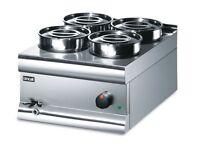 Commercial Stainless Steel Food Warmer Wet Heat Bain Marie 4 x 4.5 Litre Pots