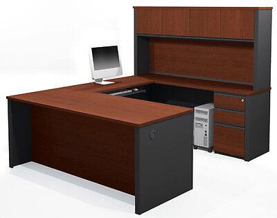 Bestar Prestige Two Tone U Shape Office Desk With 2 Assembled Pedestals
