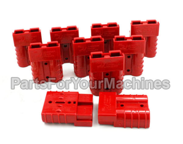 10 CHARGER PLUG HOUSINGS, 50 AMP,24V LESTER CHARGERS, SMALL RED, GOLF CARTS