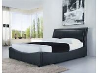 Double bed black leather gas lift -FREE delivery
