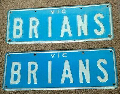 "Number Plates ""BRIANS"" Victoria Australia. Rare sale, acquired 34 years ago"